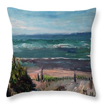Mayflower Beach Throw Pillow