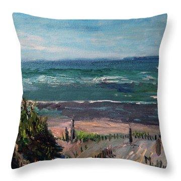 Mayflower Beach Throw Pillow