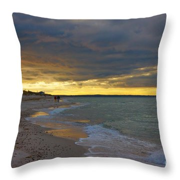 Throw Pillow featuring the photograph Mayflower Beach Walk by Amazing Jules
