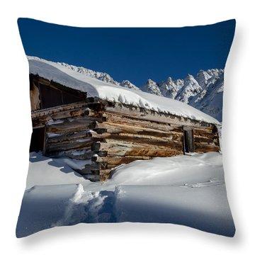 Mayflower Gulch Cabin Throw Pillow