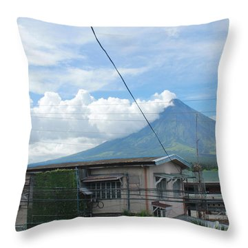 Mayon In-front Of My House Throw Pillow by Manuel Cadag