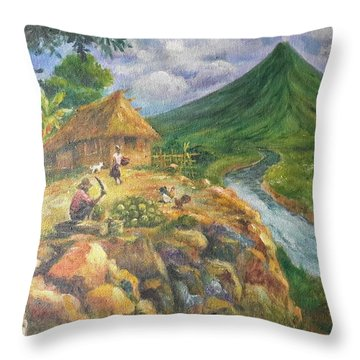 Mayon Scene #1 Throw Pillow by Manuel Cadag