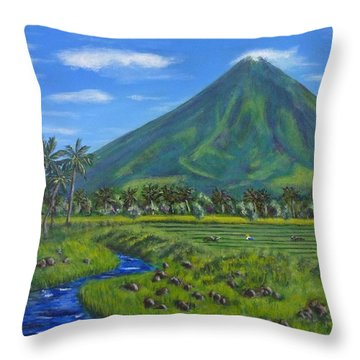 Mayon Volcano Throw Pillow