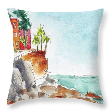 Throw Pillow featuring the painting Mazatlan Cliff by Pat Katz