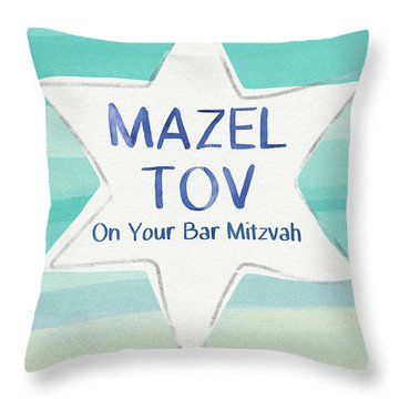 Mazel Tov On Your Bar Mitzvah-  Art By Linda Woods Throw Pillow