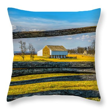 Throw Pillow featuring the photograph Mc Pherson Barn - Gettysburg National Park by Nick Zelinsky