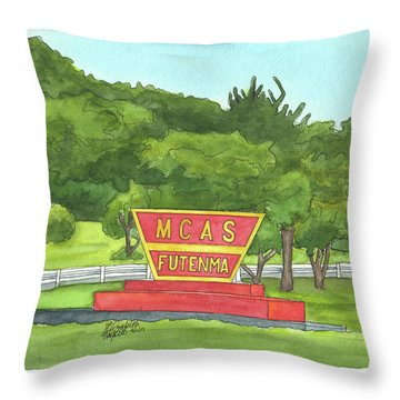 Throw Pillow featuring the painting Mcas Futenma Welcome Sign by Betsy Hackett