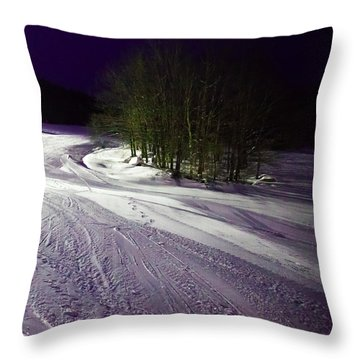 Throw Pillow featuring the photograph Mccauley Evening Snowscape by David Patterson
