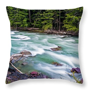 Throw Pillow featuring the photograph Mcdonald Creek by Gary Lengyel