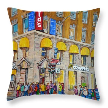 Mcdonald Restaurant Old Montreal Throw Pillow by Carole Spandau