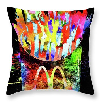 Mcdonald's French Fries Grunge Throw Pillow