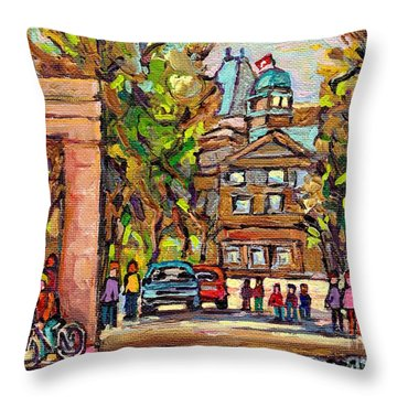 Mcgill Gates  Entrance Of Mcgill University Montreal Quebec Original Oil Painting Carole Spandau Throw Pillow