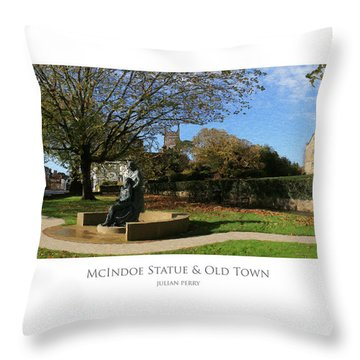 Throw Pillow featuring the digital art Mcindoe Statue by Julian Perry