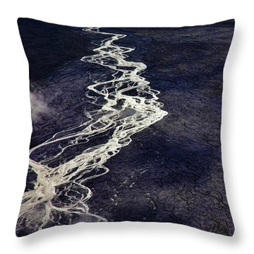 Throw Pillow featuring the photograph Mckinley River From The Air by Rick Berk