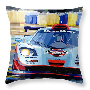 Mclaren Bmw F1 Gtr Gulf Team Davidoff Le Mans 1997 Throw Pillow by Yuriy  Shevchuk