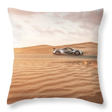 Mclaren P1 In Dubai Desert Throw Pillow