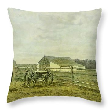 Mcpherson Barn And Cannon Gettysburg  Throw Pillow