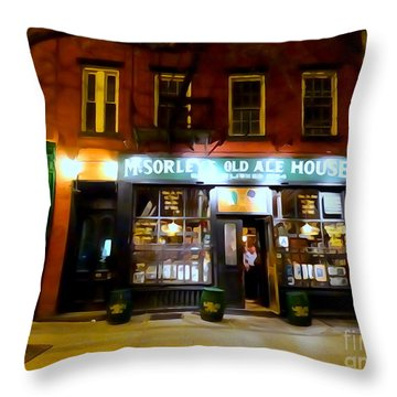 Mcsorleys At Night Throw Pillow by Ed Weidman