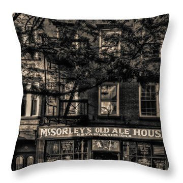 Throw Pillow featuring the photograph Mcsorley's Old Ale House Nyc Bw by Susan Candelario
