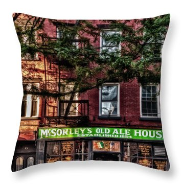 Throw Pillow featuring the photograph Mcsorley's Old Ale House Nyc by Susan Candelario