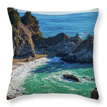 Mcway Falls Julia Pfieffer State Park Throw Pillow by James Hammond