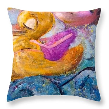 Throw Pillow featuring the painting Me And My Duckie by Eleatta Diver