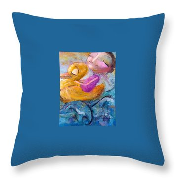 Me And My Duckie Throw Pillow by Eleatta Diver