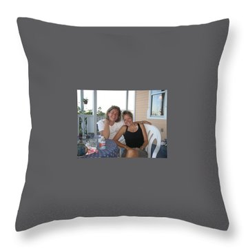 Throw Pillow featuring the painting Me And Stace by Patti Schermerhorn