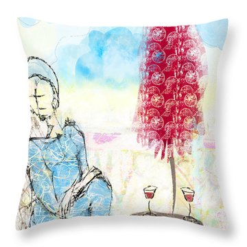 Throw Pillow featuring the digital art Me, Myself And Wine by Gabrielle Schertz