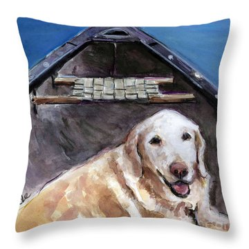 Throw Pillow featuring the painting Me You Canoe by Molly Poole