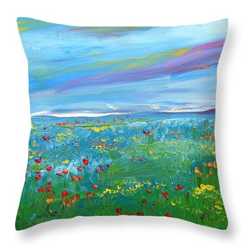 Meadow Drops By Colleen Ranney Throw Pillow