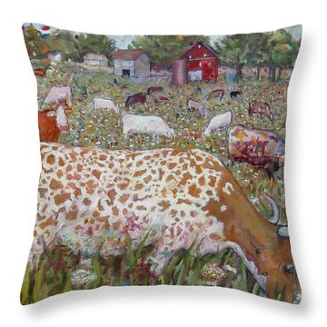 Meadow Farm Cows Throw Pillow