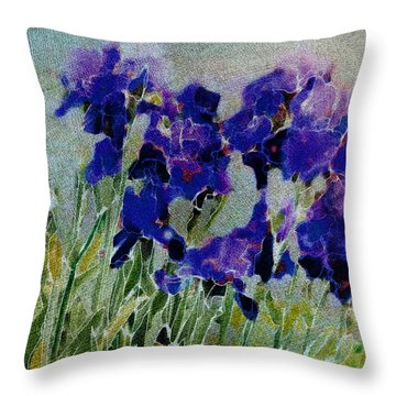 Meadow Iris Throw Pillow by Linde Townsend