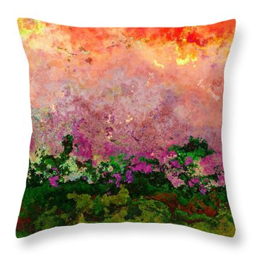 Throw Pillow featuring the digital art Meadow Morning by Wendy J St Christopher
