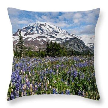 Meadow Of Lupine Near Mount Rainier Throw Pillow