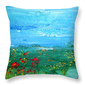 Meadow Pond By Colleen Ranney Throw Pillow