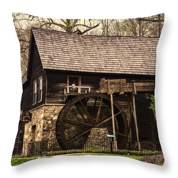 Throw Pillow featuring the photograph Meadow Run Grist Mill by B Wayne Mullins