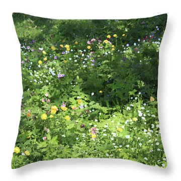 Meadow With Spring Flowers Throw Pillow