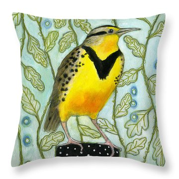 Meadowlark Black Dot Box Throw Pillow by Blenda Tyvoll