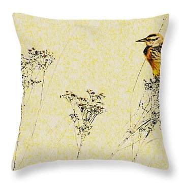 Meadowlark In Kansas Prairie 1 Throw Pillow