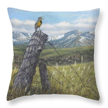 Meadowlark Serenade Throw Pillow by Kim Lockman
