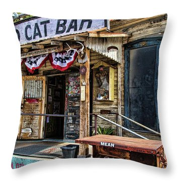 Mean Eyed Cat Bar Throw Pillow