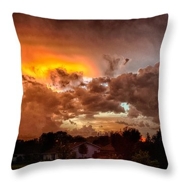 Throw Pillow featuring the photograph Mean Skies From Off My Deck  by Ricky L Jones