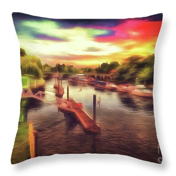 Meanwhile Back On The River Throw Pillow