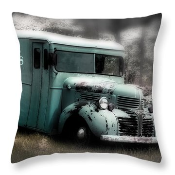 Throw Pillow featuring the painting Meat Truck by Gray  Artus