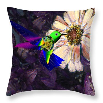 Throw Pillow featuring the digital art Mecha Whirlygig by Iowan Stone-Flowers