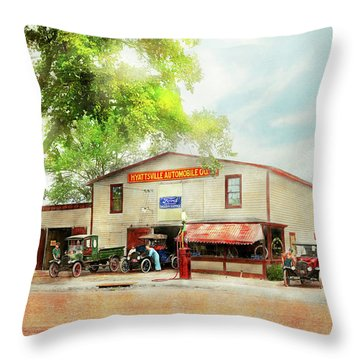 Throw Pillow featuring the photograph Mechanic - All Cars Finely Tuned 1920 by Mike Savad