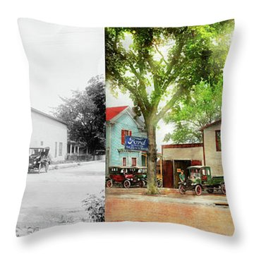 Throw Pillow featuring the photograph Mechanic - All Cars Finely Tuned 1920 - Side By Side by Mike Savad
