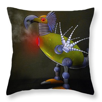 Mechanical Bird Throw Pillow
