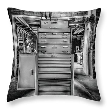 Mechanics Toolbox Cabinet Stack In Garage Shop In Bw Throw Pillow